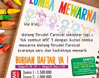 Lomba Mewarnai Malang Strudel Carnival 3! Banjir Hadiah Jutaan Rupiah!