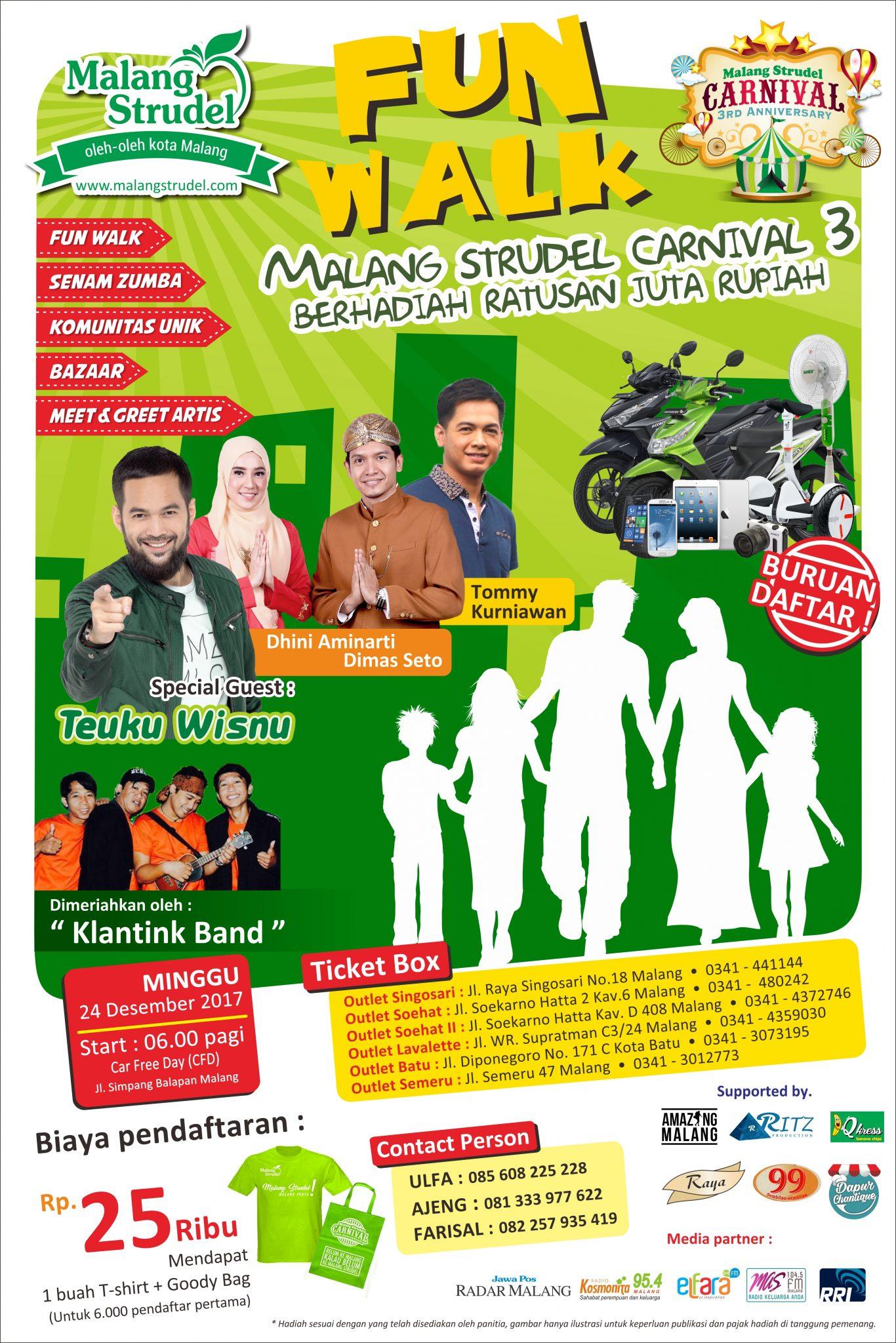 Funwalk Malang Strudel Carnival 3, Bertabur Artis dan Ratusan Juta Rupiah!